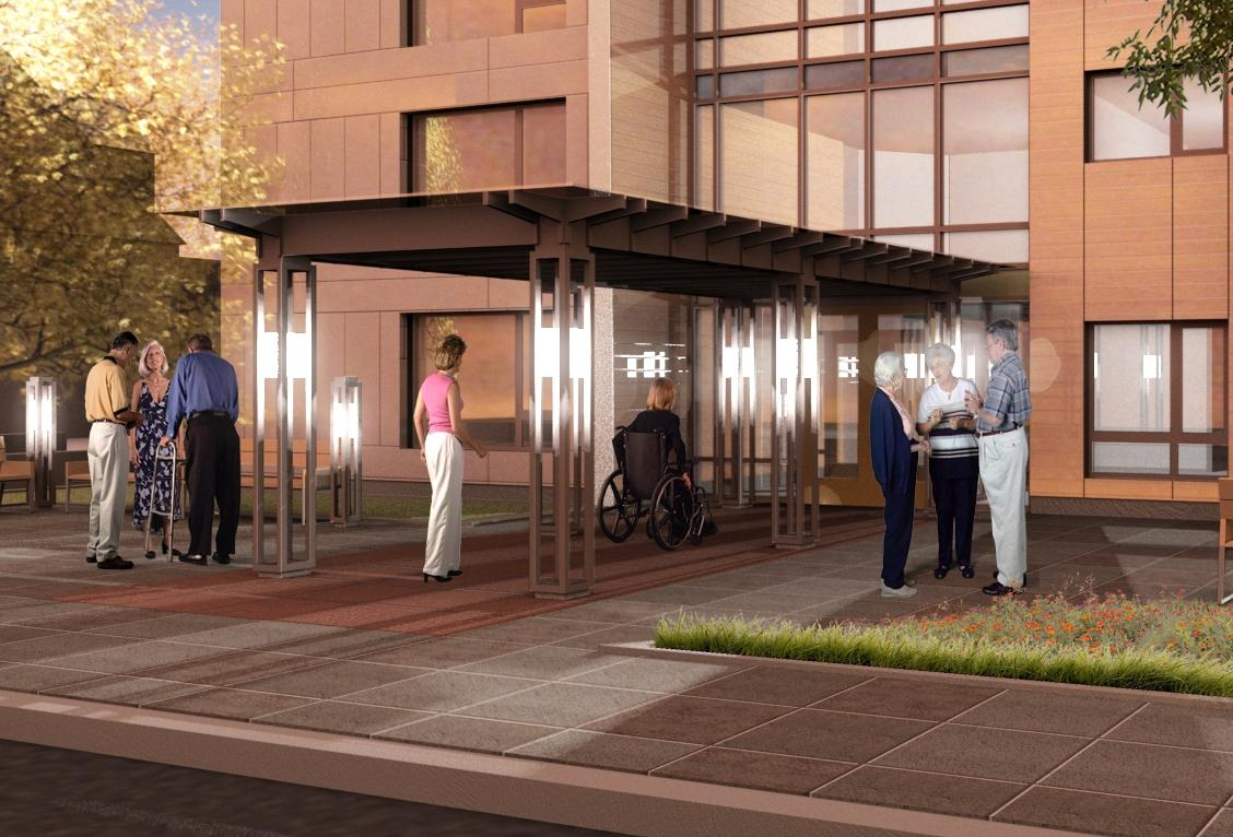 Rendering of exterior entry detail with entry canopy and plaza