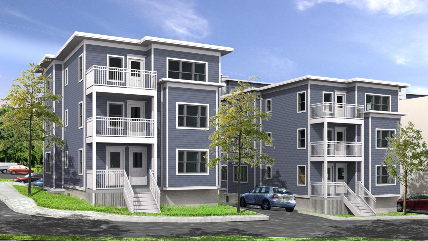 Rendering of townhouse condominiums from street