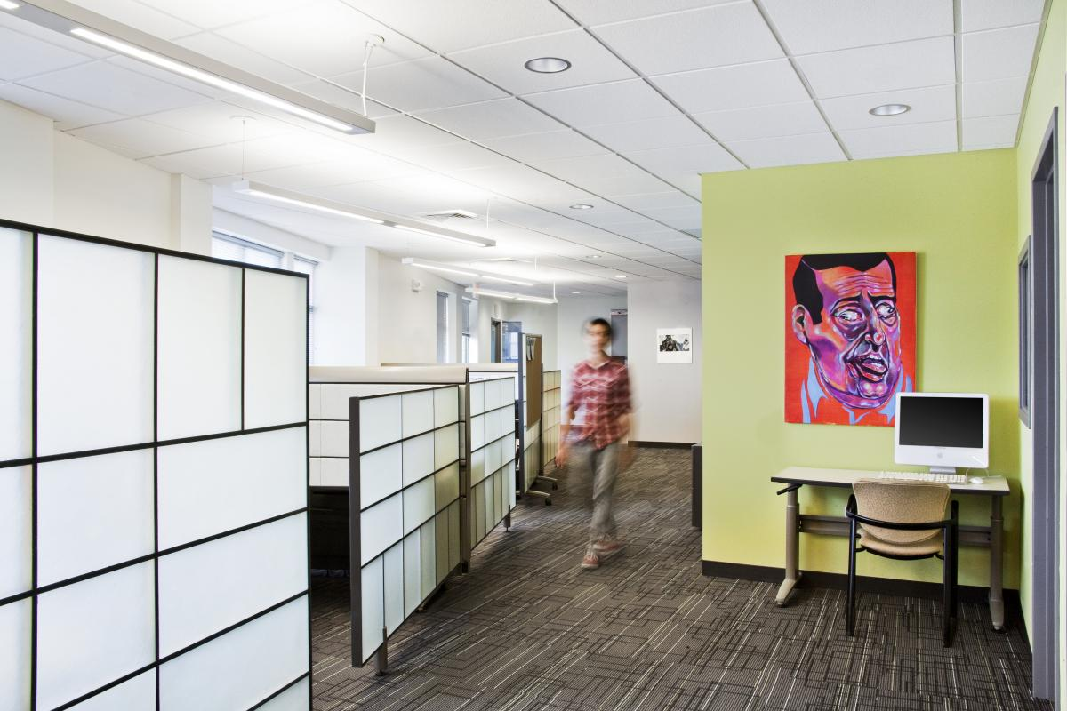 Office cubicles with translucent screens
