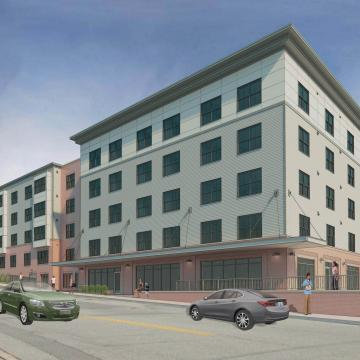Rendering of front exterior view along street, showing sidewalk canopy