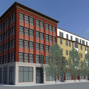 Exterior rendering, view from street