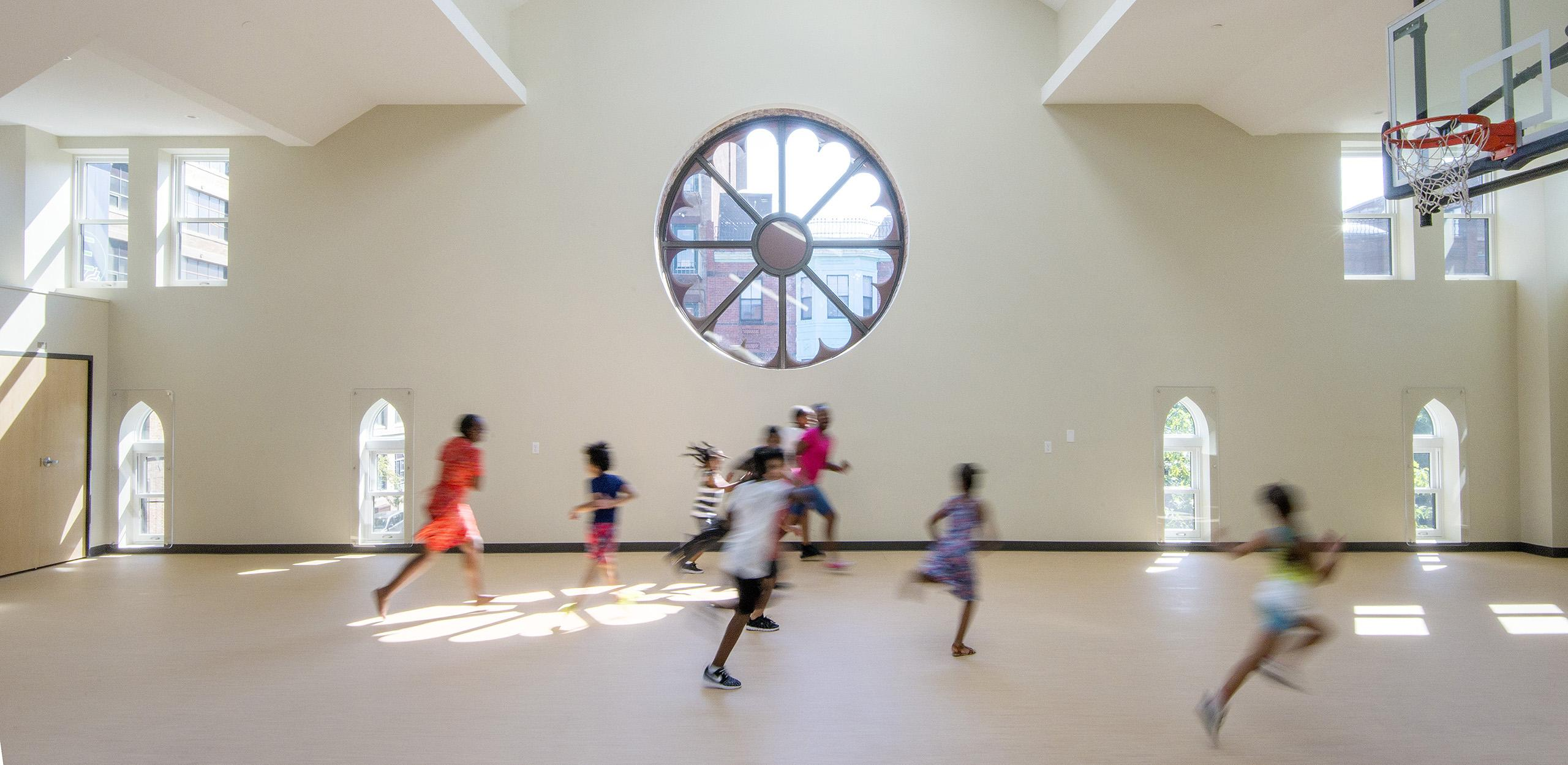 Adaptive reuse of an historic church into childcare space/gymnasium