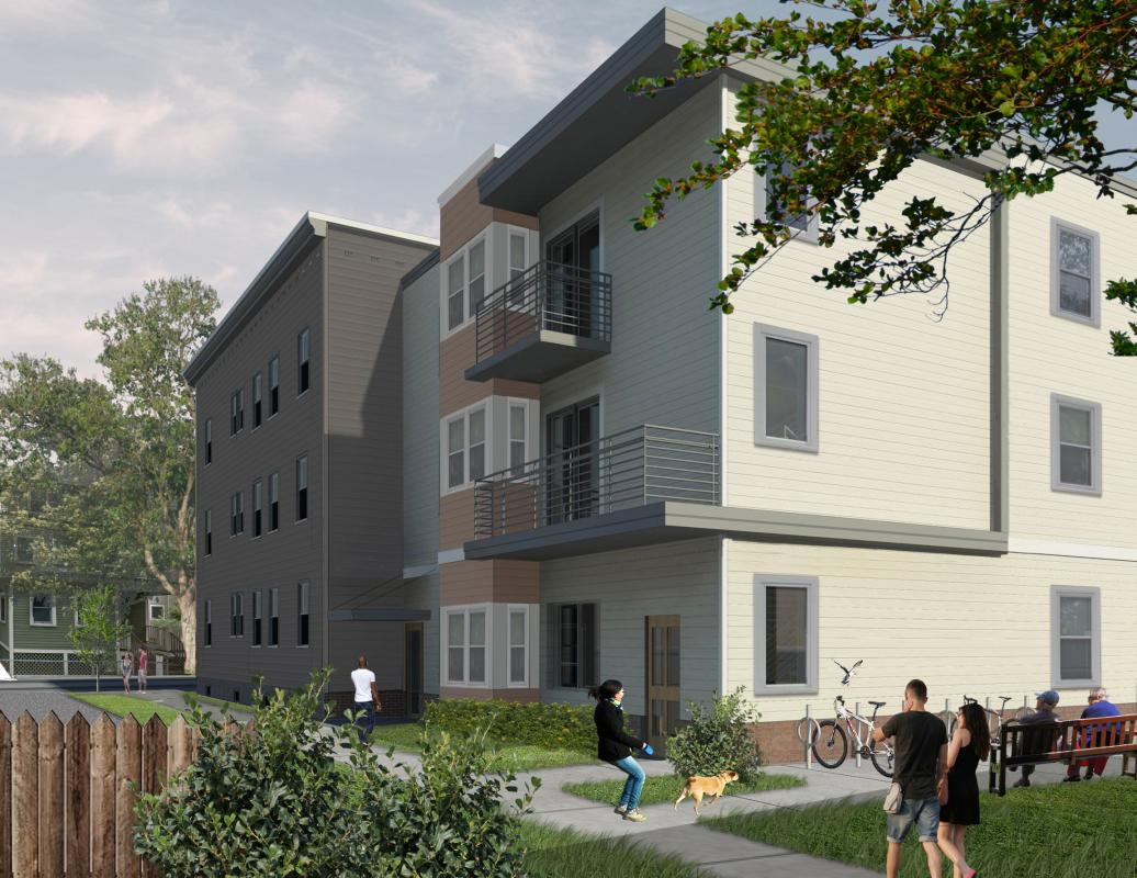 New Squirrelwood building - rendering of rear exterior view from green