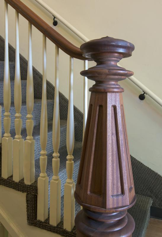 Ornamented newel post at staircase