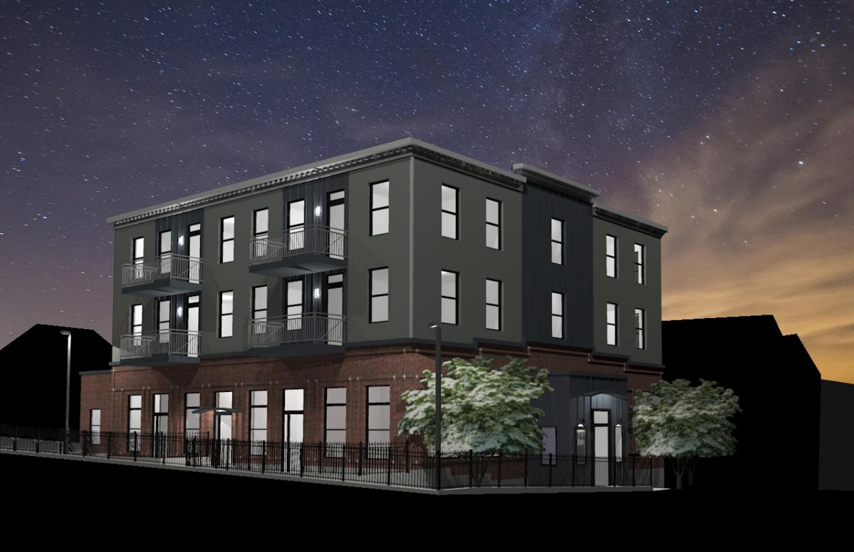 Rendering of exterior at night