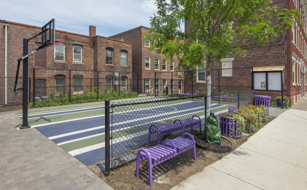 17-19 Ward Street - pocket park with basketball court