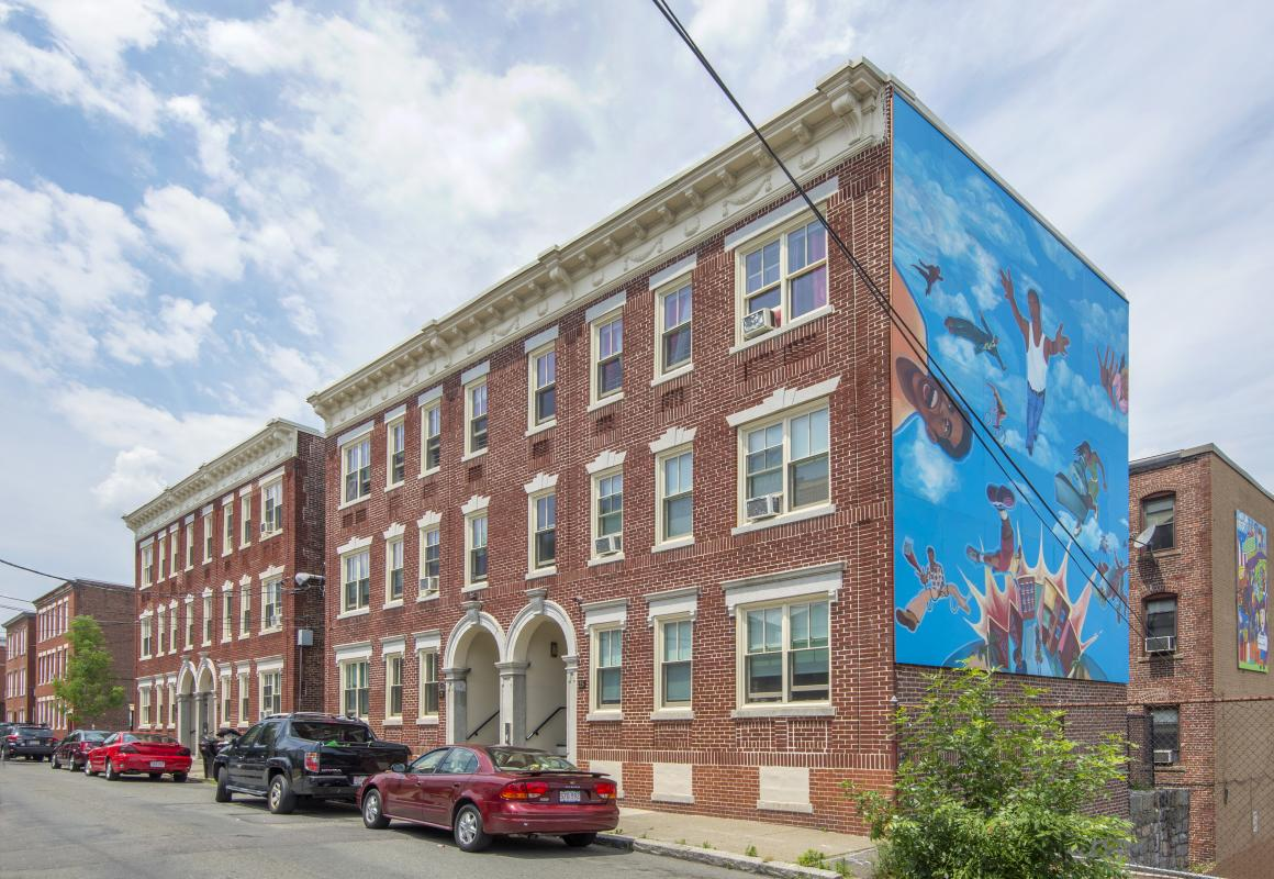 23-25 Ward Street - front exteriors along street with large mural on side of building