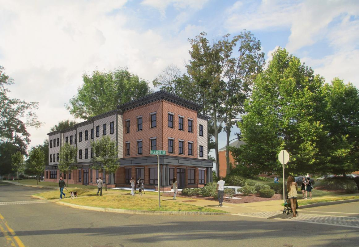 Rendering of overall view of mixed-use building from street corner