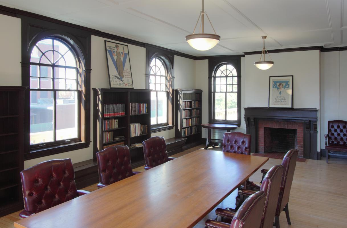 Conference room with arched windows