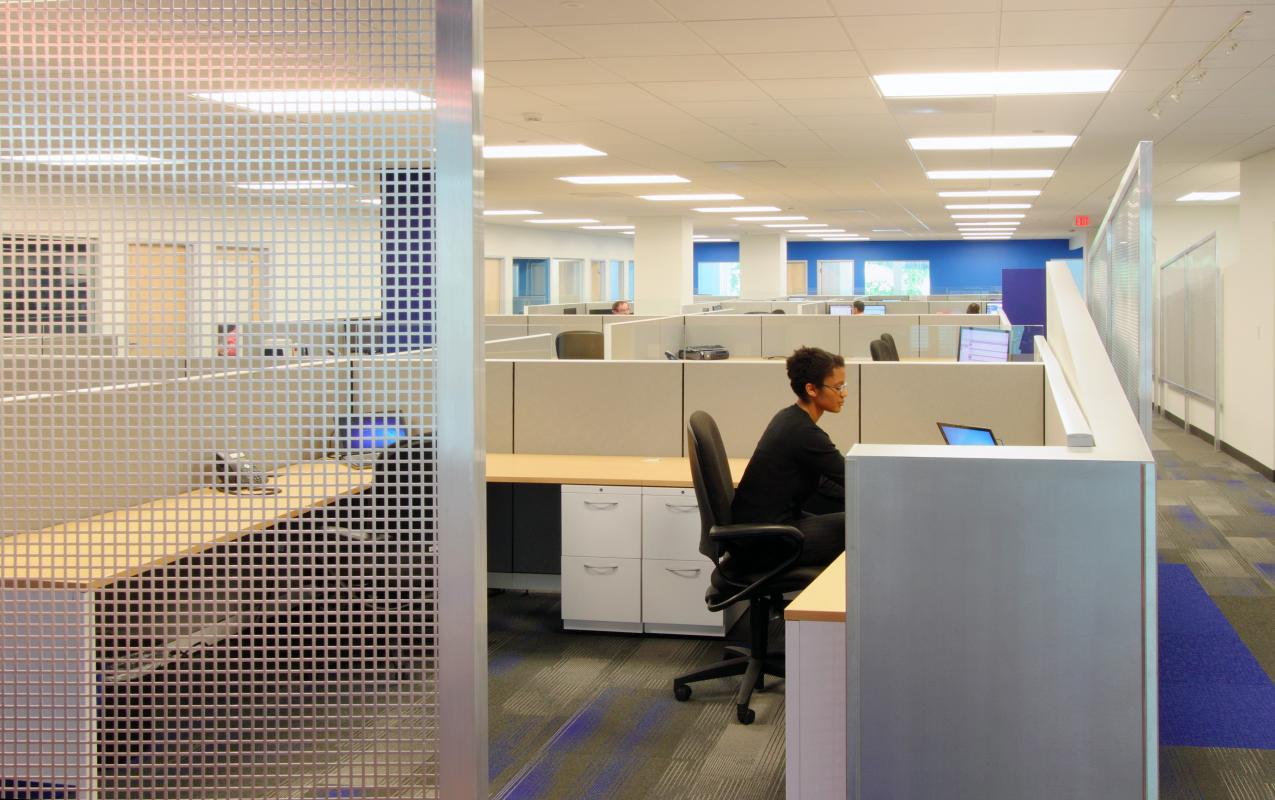 Cubicles in open office space
