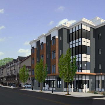 Rendering of exterior at street corner