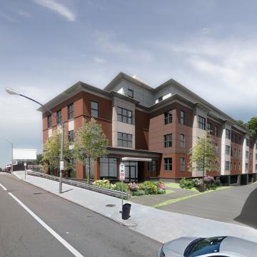 Rendering of corner exterior view from street