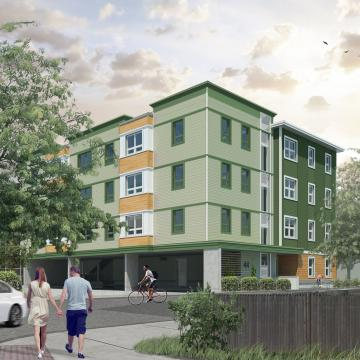 New Squirrelwood building - rendering of exterior view from street corner