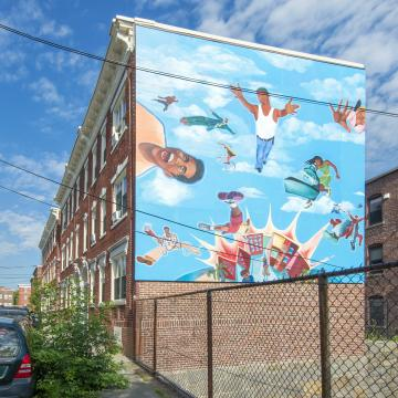 23-25 Ward Street - large mural on side of building, viewed from street