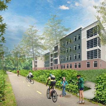 Rendering of exterior view from bikeway