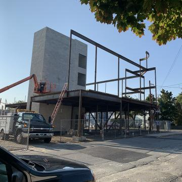 Exterior view of building's steel frames